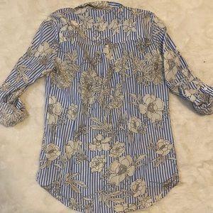 Express Tops - Express Button Up Striped Floral City Shirt sz S